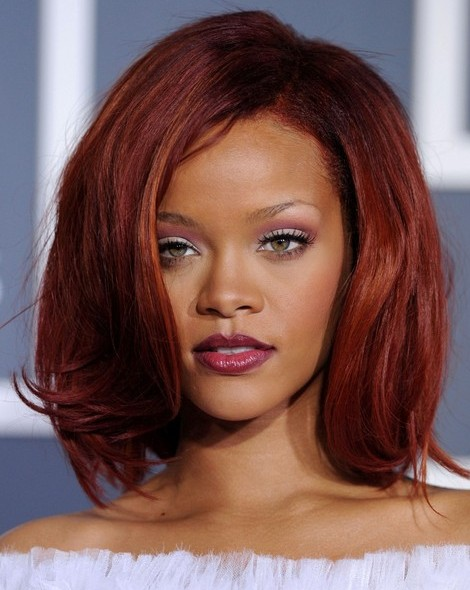 Rihanna Medium Bob Hairstyles 2012