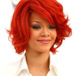 Rihanna Medium Layered Hairstyles 2012