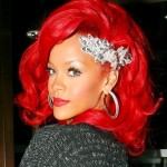 Rihanna Medium Red Hairstyles