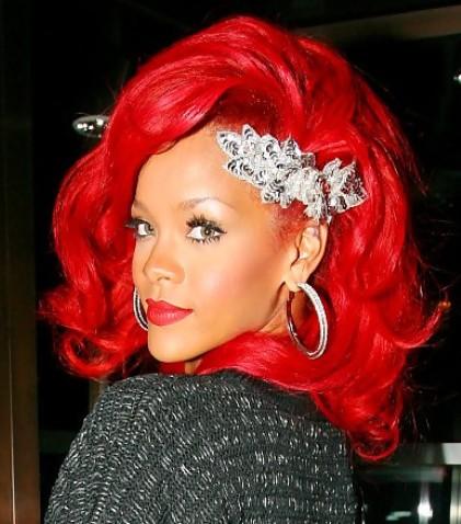 Rihanna Medium Red Hairstyles