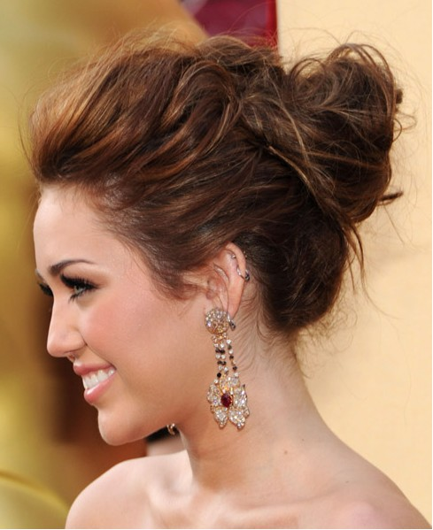 Hairstyles Updos braid updo hair styles for wedding prom Miley Cyrus Updo Hairstyles 2012