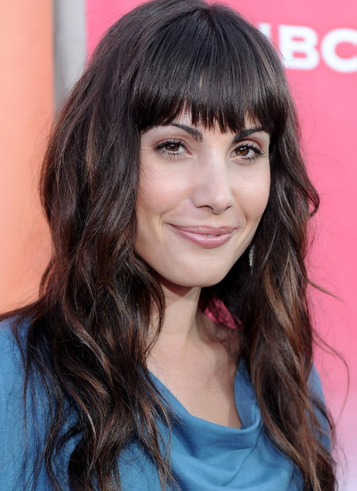 Carly Pope Long Wavy Hairstyles with Blunt Bangs