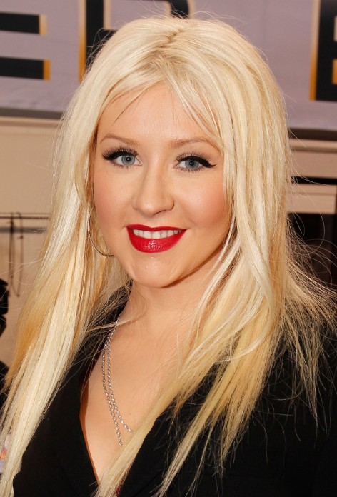 Christina Aguilera Straight Long Hairstyles For Blonde Hair