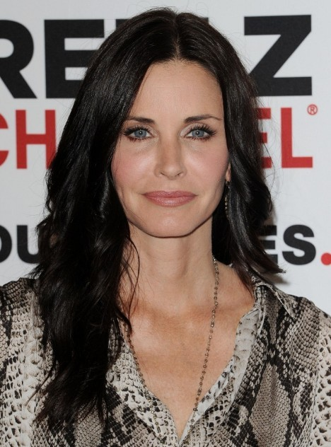 Courteney Cox Black Long Hairstyles for Sleek Hair 2013