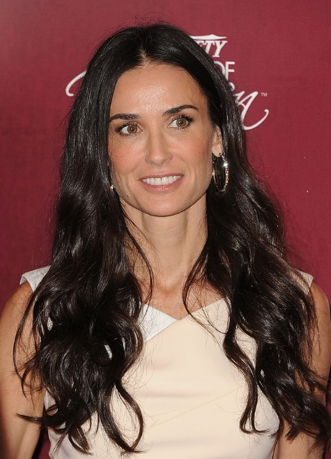 Demi Moore Sleek Long Wavy Hairstyles 2013