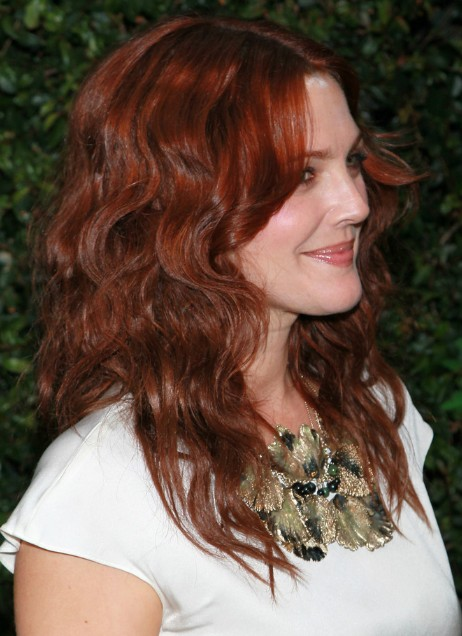Drew Barrymore Red Curly Hairstyles 2013