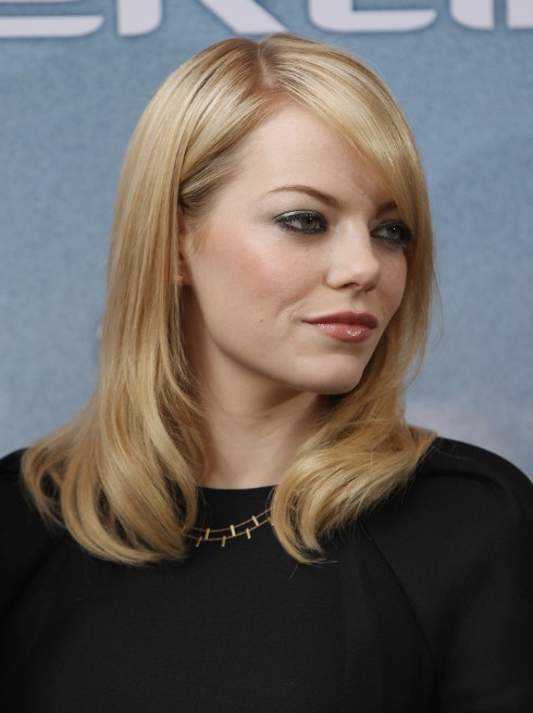 Emma Stone Sleek Medium Straight Hairstyles 2013