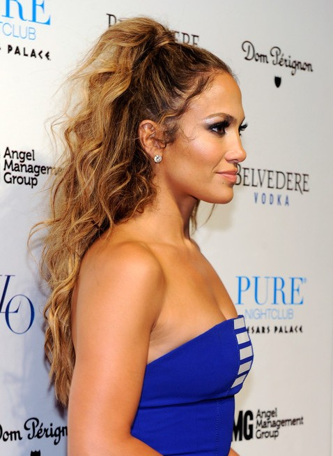 Jennifer Lopez Tousled Long Curly Hairstyle 2013