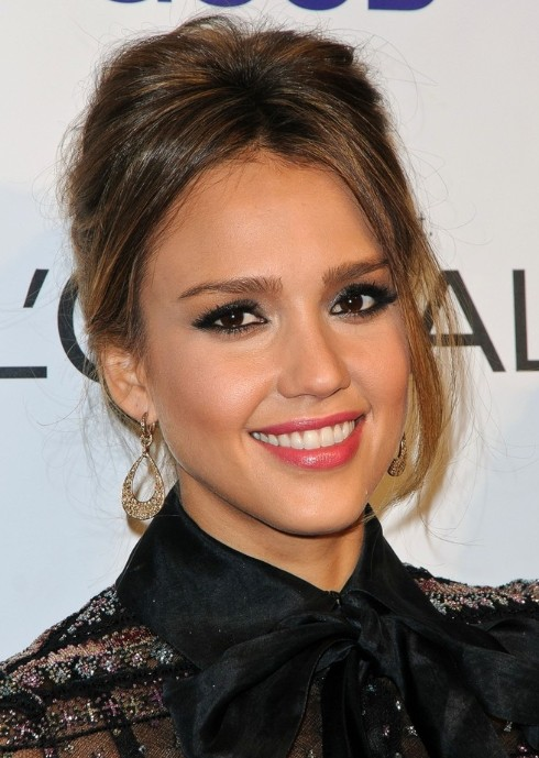 Jessica Alba Formal Updo Hairstyles 2013 for Prom