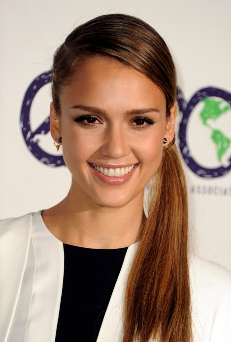 Jessica Alba Long Ponytail Hairstyles 2013