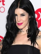 Kat Von D Black Tousled Layers Long Hairstyle