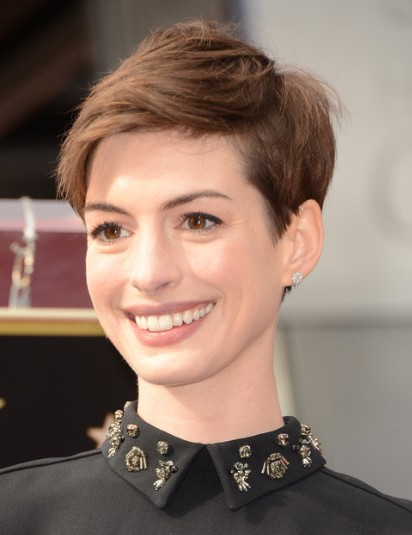 ... Hathaway Haircuts:Brown Short Hairstyles with Side Bangs/Getty Images