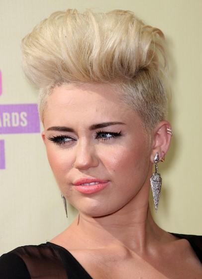 Blonde Fauxhawk Haircuts Miley Cyrus Short Hair Popular Haircuts