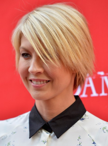 Blonde Short Layered Haircuts 2013 Jenna Elfman Popular