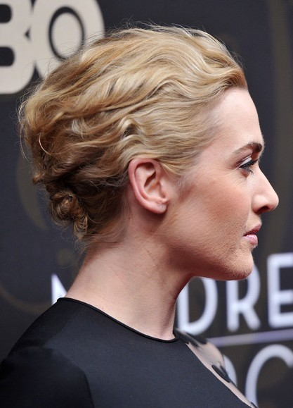 Kate Winslet Chignon Hairstyles for Wavy Hair 2013
