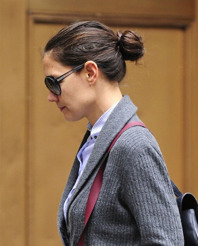 Katie Holmes Chignon Hairstyle For Long Hair Popular
