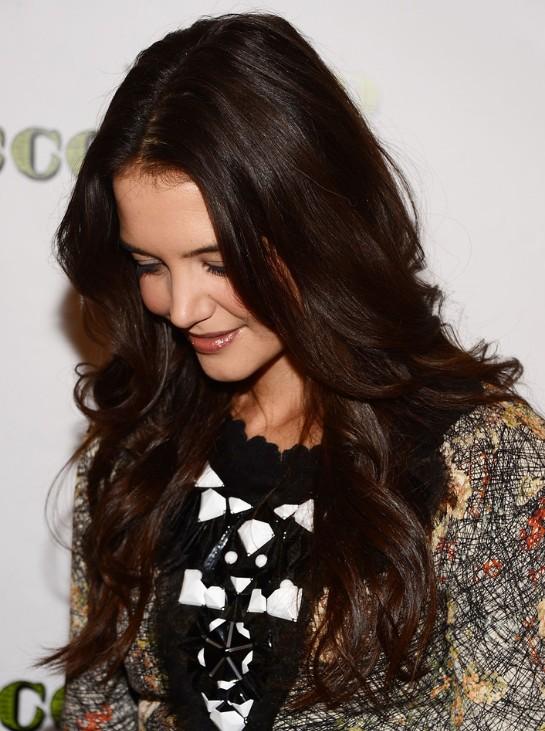 Katie Holmes Trendy Dark Golden Brown Long Hairstyles 2013