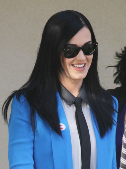Katy Perry Black Sleek Long Straight Hairstyles 2013