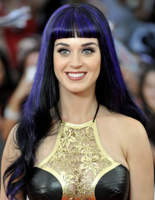 Katy Perry Trendy Violet Long Hairstyle Popular Haircuts