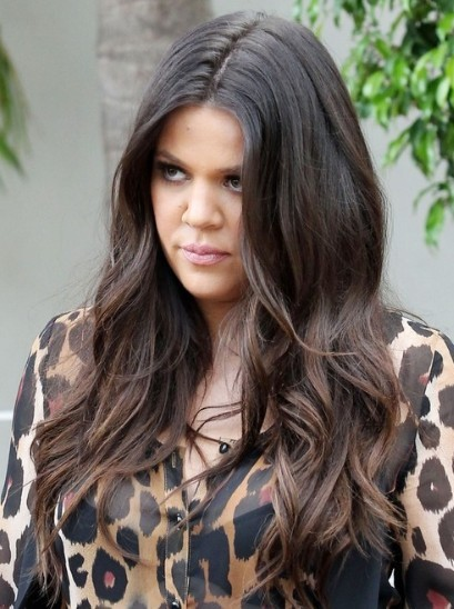 Khloe Kardashian Brown Long Wavy Hairstyles 2013