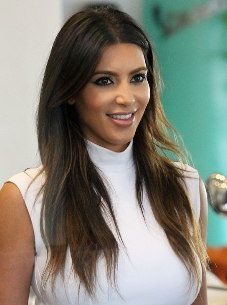 Kim Kardashian Casual Brown Long Haircuts 2013