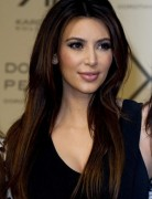 Kim Kardashian Sleek Long Straight Hairstyles 2013