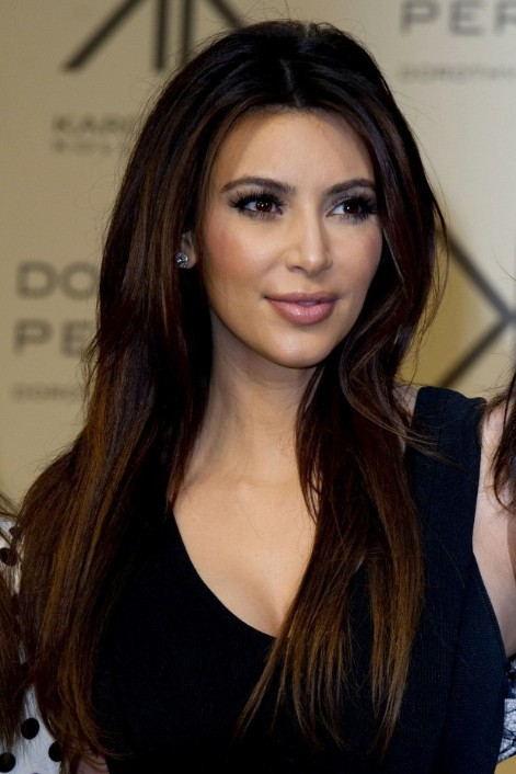Perfect Kim Kardashian Sleek Long Straight Hairstyles 2013