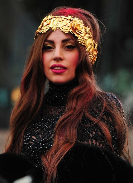 Lady Gaga Red Long Hairstyles 2013