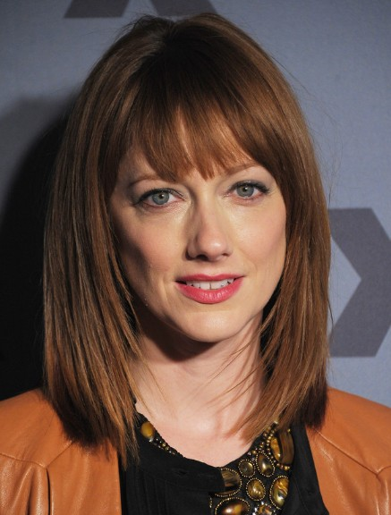 Picture of Long Layered Bob Hairstyles with Blunt Bangs - Judy Greer ...