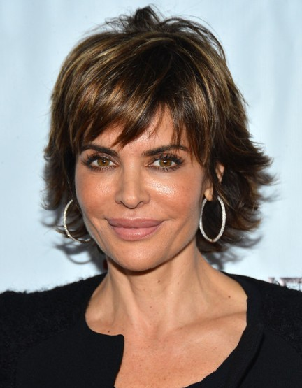 Ombre short shaggy haircut lisa rinna hairstyles 2013 getty images