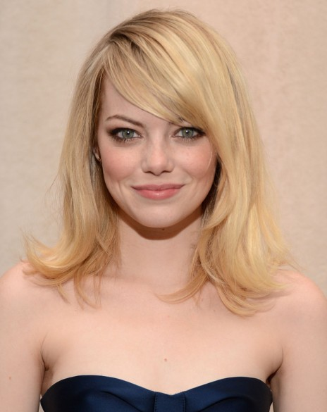 Emma Stone Blonde Medium Straight Hairstyles For Side Bangs