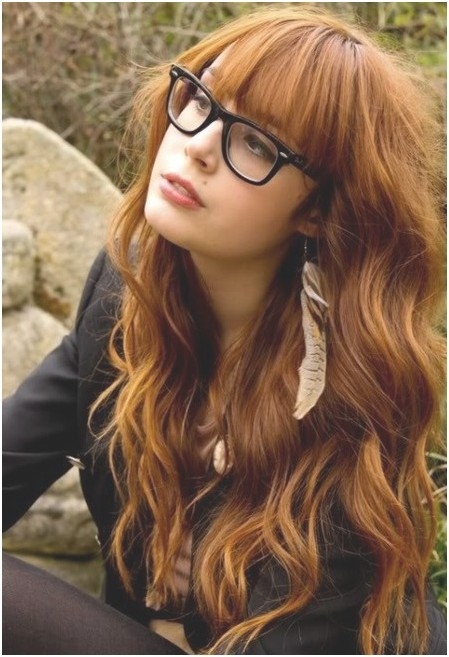 Long Wavy Red Hair with Bangs