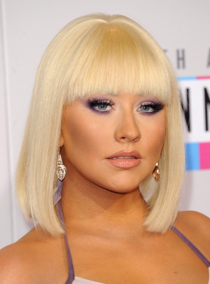 Christina Aguilera Blunt Medium Bob Haircuts 2013