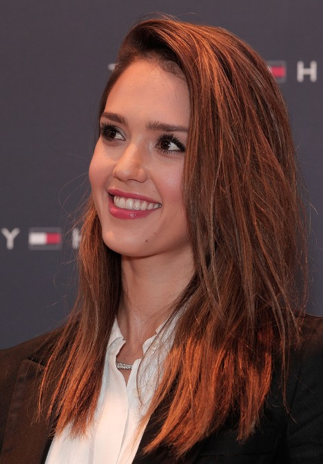 Nice Jessica Alba, Trendy, Long Hair Styles Color 2013