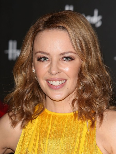 Kylie Minogue Brown Hairstyles for Medium Hair 2013