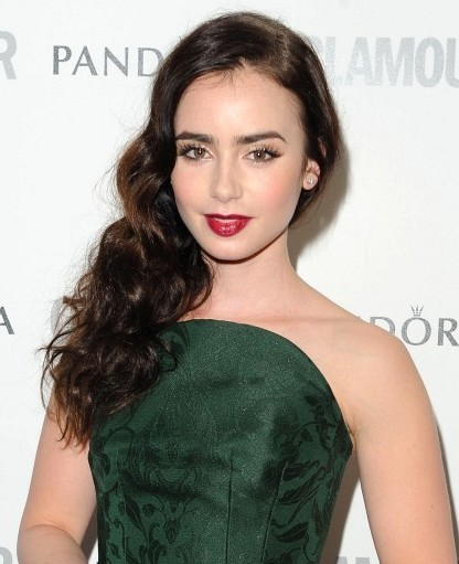 lily collins curly hairstyle for long hair popular haircuts