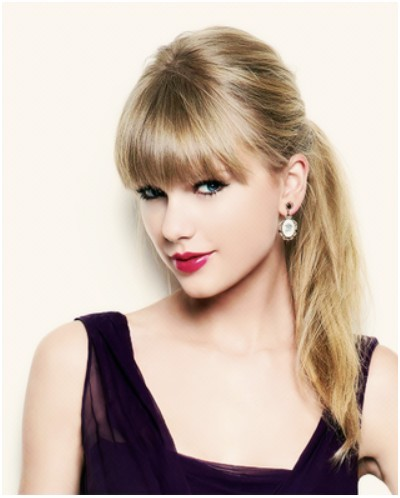 Stupendous Ponytail Hairstyles With Blunt Bangs Taylor Swift Hair Styles Short Hairstyles Gunalazisus