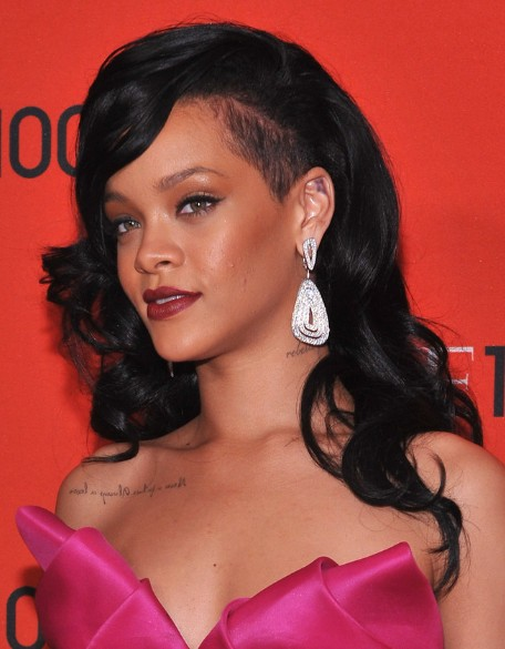 Rihanna Black Curly Long Hairstyles 2013 Popular Haircuts
