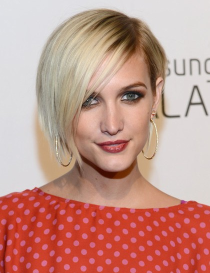 Surprising Short Blonde Bob Hairstyles With Side Bangs Ashlee Simpson Wentz Hairstyles For Women Draintrainus