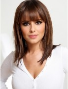 Straight, Medium Hairstyles with Blunt Bangs, Easy Haircuts