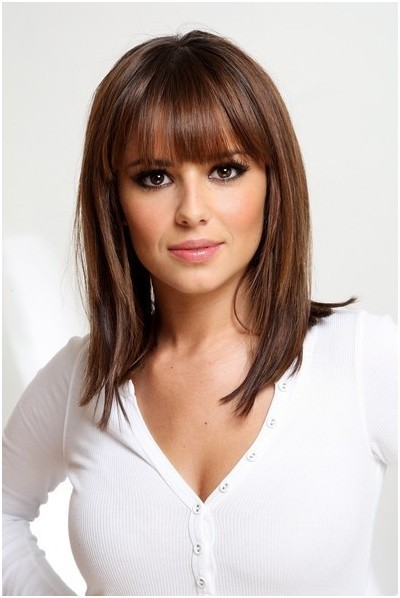 Straight Medium Hairstyles With Blunt Bangs Easy