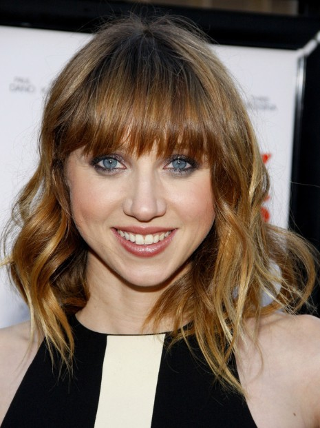 Medium layered haircuts for blunt bangs zoe kazan hairstyle