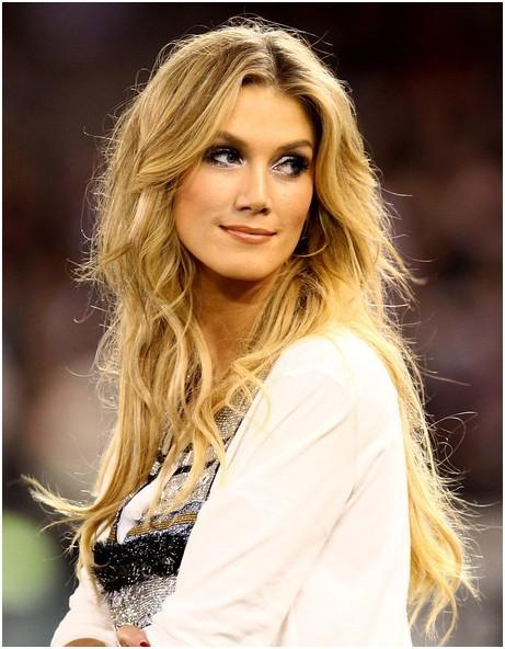Remarkable Blonde Tousled Center Part Hairstyles Delta Goodrem Long Hair Short Hairstyles Gunalazisus