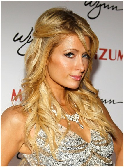 layered, half-up half-down hairstyles: paris hilton blonde hair