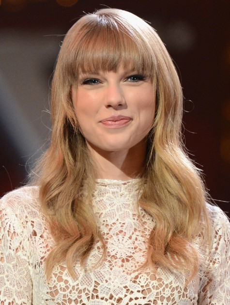 Picture of Long Wavy Hairstyles for Blunt Bangs, Taylor Swift Hair