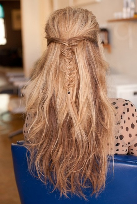 Messy Fishtail Braid Half Up Half Down Hairstyles Long