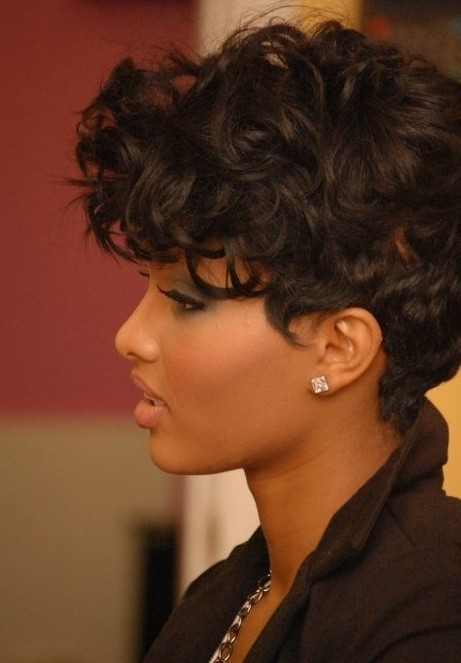 Asymmetrical Haircut with Natural Curls, Pixie Hairstyles