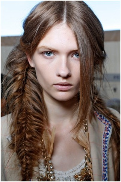 Brown Messy Fishtail Braids Girls Long Hair Popular