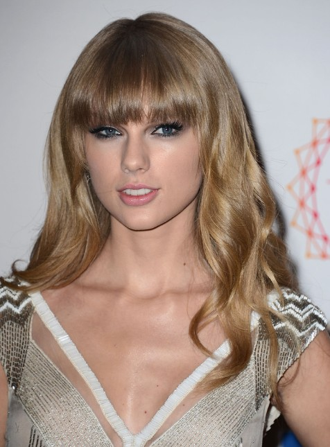 Soft Wavy Hairstyles for Blunt Bangs: Taylor Swift Long Hair | PoPular