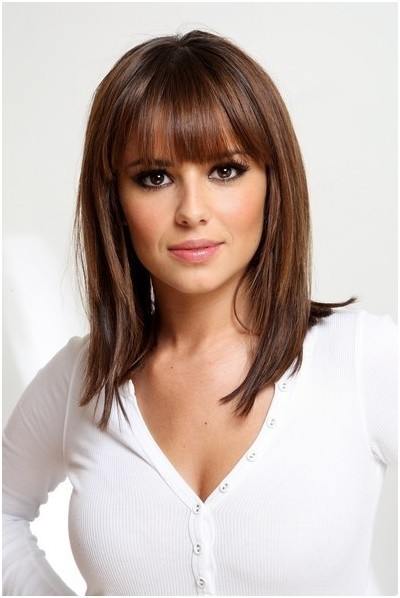 Straight, Medium Hairstyles with Blunt Bangs